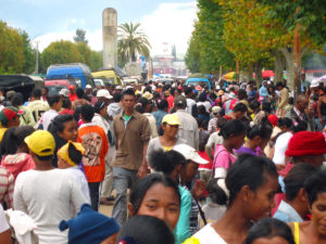 """These are the crowds in the middle of town for Easter Monday – packed tight! This actually isn't the tightest point; I waited for a """"gap"""" in the people so that I was able to maneuver my hands well enough to get a good picture. But these crowds stretched for a good mile all around!"""
