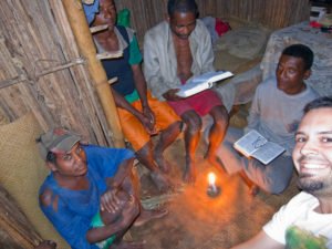 One of our bible studies in Antenina... they often went late into the evening so we continued by candlelight.