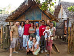 Our team in Antenina, in front of both of our huts that we lived in there.
