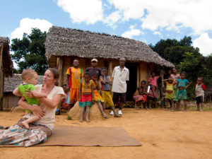 Lora and Matimu are performing in a skit about malaria in one of the neighboring villages to Antenina.