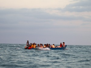 One of the boats full of those attending the ceremony, headed to Nosy Mitsio in the early morning.