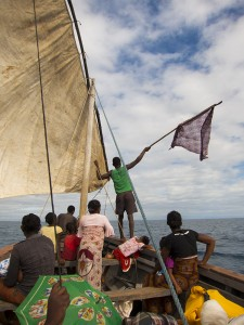 Stranded in the boat leaving Nosy Mitsio. A passenger is waving a flag in hopes of getting someone's attention.