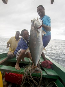 "The biggest catch of our trip, a 25 pound ""batula"" (apparently some kind of tuna)."