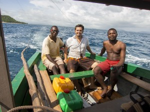 Me and our two boat drivers on our trip from Diego to Nosy Mitsio.