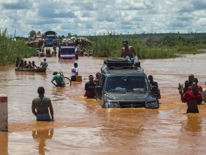 One of Madagascar's national highways during the rainy season in January – you can be sure more than a few vehicles and pieces of luggage were damaged crossing this flooded highway!