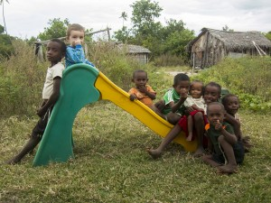 Matimu playing on his slide (the only one in Nosy Mitsio) with his friends in our village, both the king's children and his grandchildren, and some other relatives.