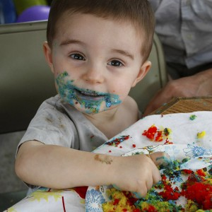US Visit photos - Matimu eating cake for his 2nd birthday party