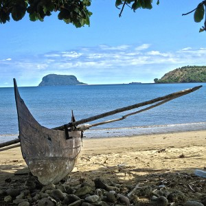 Madagascar 6 Photos - a fishing canoe on Nosy Mitsio