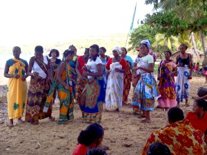 Ladies from the south of the island presenting their dance and song to the ladies from the north.