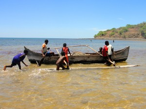 A typical local canoe on Nosy Mitsio.